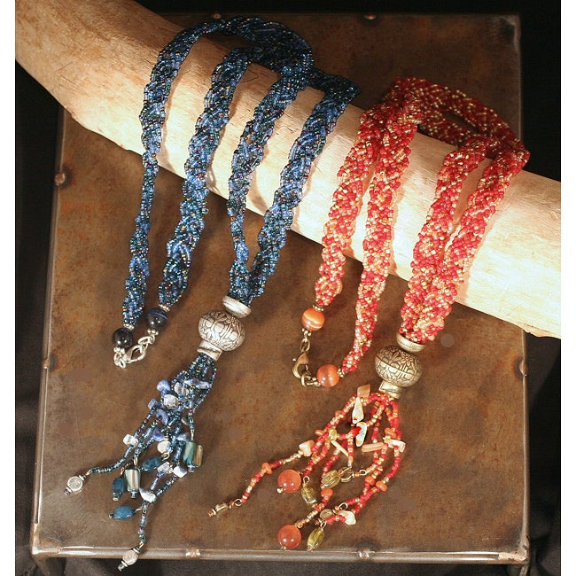 Peyote Bird Designs Braided Bead and Tassel Necklace