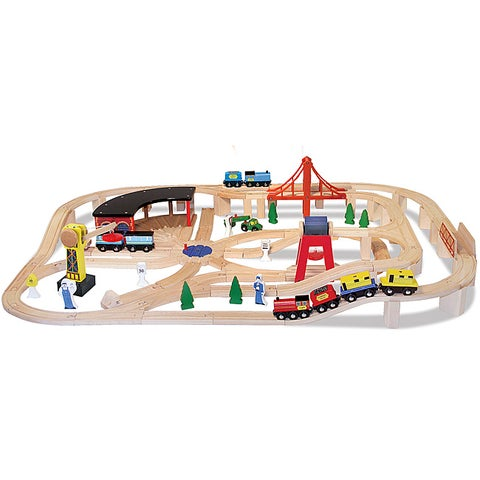 Melissa & Doug Wooden Railway Play Set - Brown
