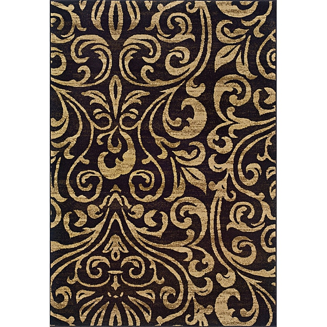 Indoor Black/Brown Abstract Area Rug