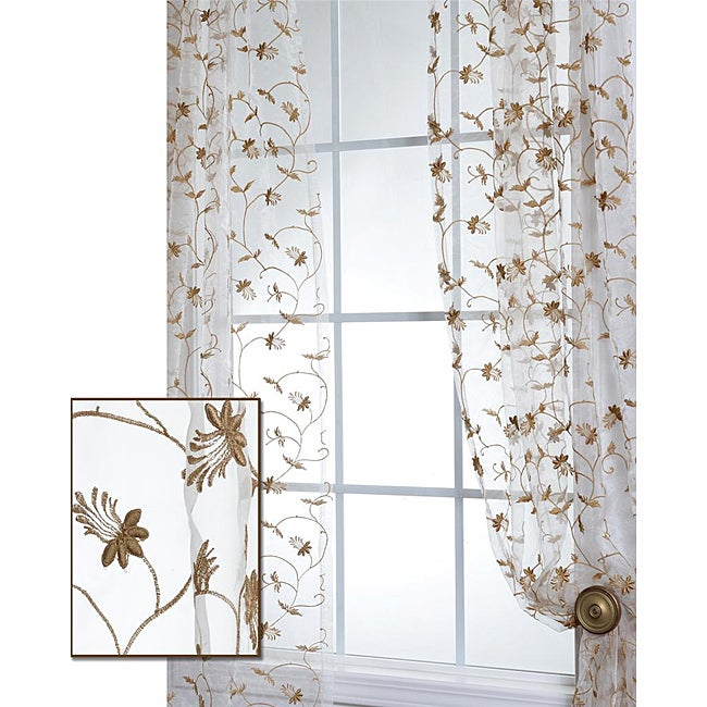 Exclusive Fabrics Fiona Floral Off White Embroidered