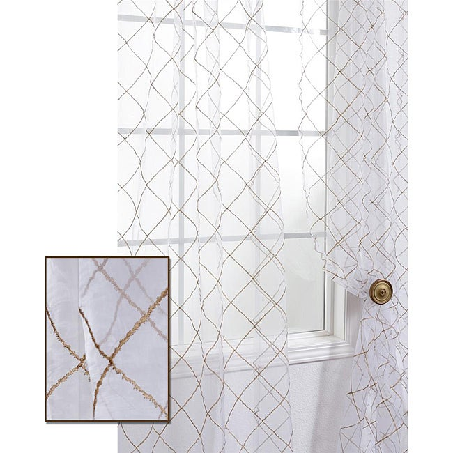 Exclusive Fabrics Lattice White Embroidered Organza 96-inch Sheer Curtain Panel