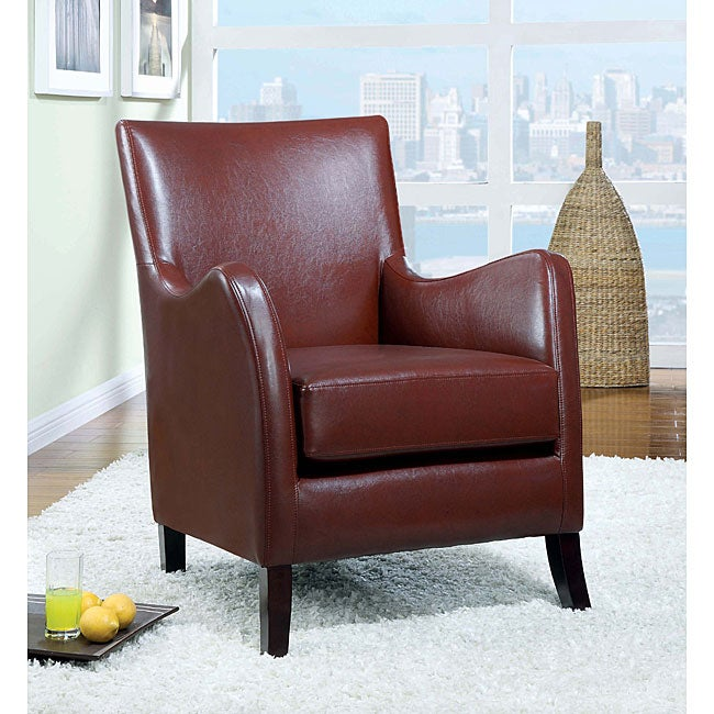 Deep Accent Cheap Chair: Deep Red Leather-like Accent Chair
