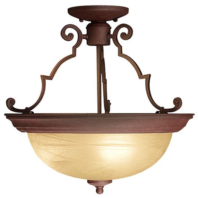 Woodbridge Lighting 2-light Antique Bronze Semi-flush Mount