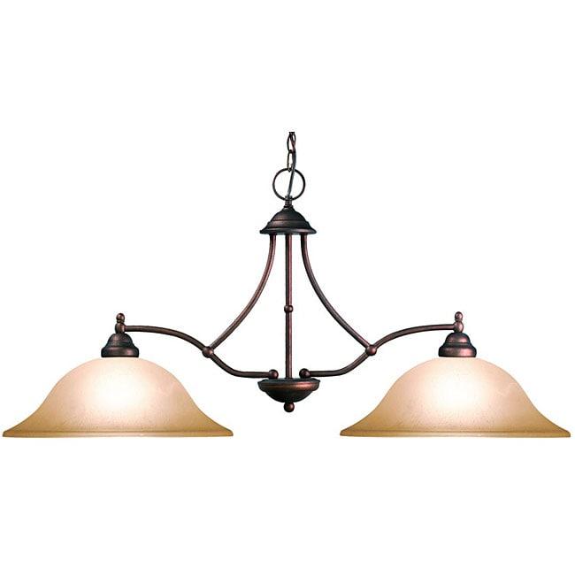 Woodbridge Lighting Anson 2-light Marbled Bronze Island Light Fixture