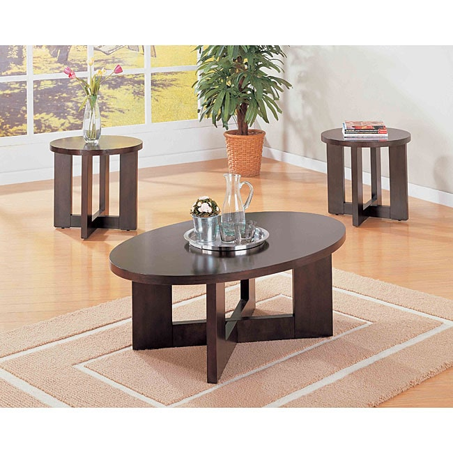 3 Piece Oval Coffee Table Set: Cappuccino Oval 3-piece Occasional Table Set