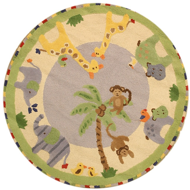 Hand-tufted Wool Elephant Rug (5' Round)