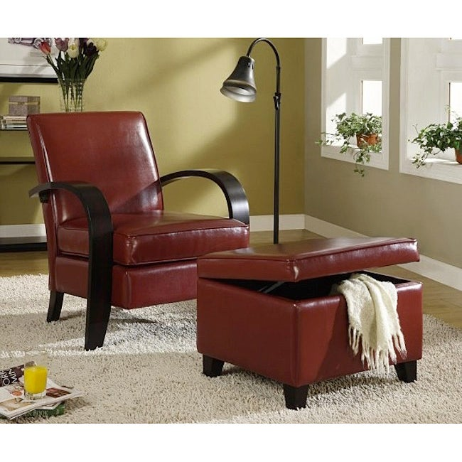 Burgundy Bonded Leather Chair and Storage Ottoman - Burgundy Bonded Leather Chair And Storage Ottoman - Free Shipping