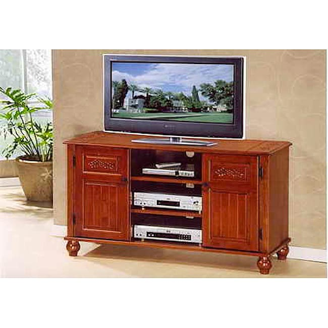 dark solid oak fully assembled wood tv stand free shipping today 13869738. Black Bedroom Furniture Sets. Home Design Ideas