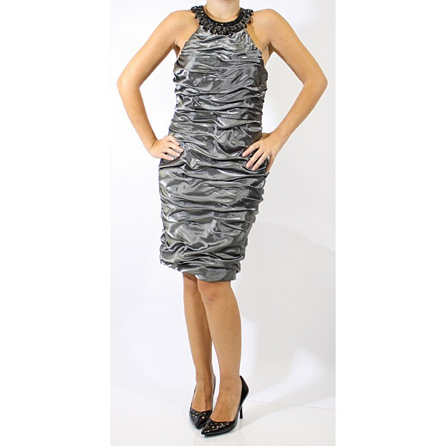R & M Richards Rouched Beaded Neck Dress