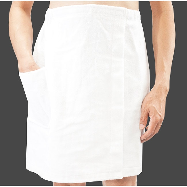 Leisureland Men's White Cotton Terry Wrap