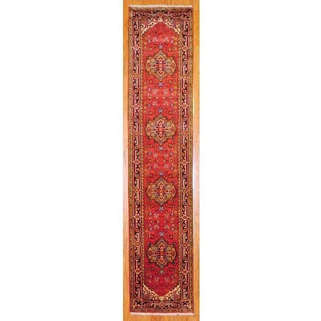 Indo Hand-knotted Rust/Navy Wool Rug (2'6 x 12')