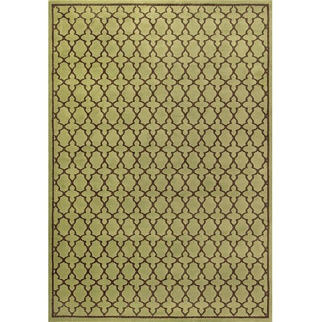 Miramar Green/ Brown Geometric Area Rug (67 x 96)