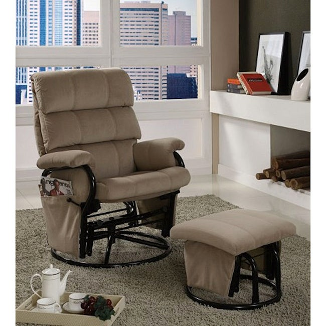 Taupe Velvet Metal Swivel Rocker Recliner With Ottoman