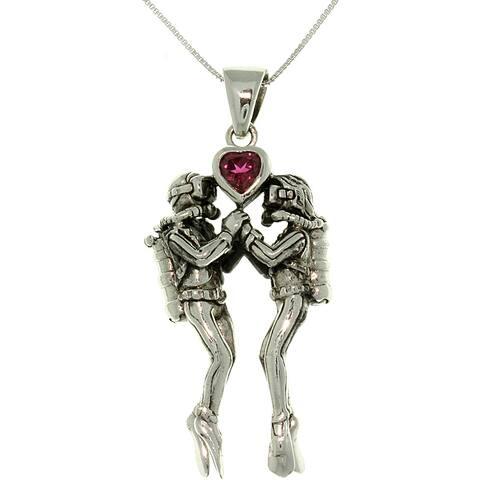 Sterling Silver Sea Life Scuba Divers Heart Necklace