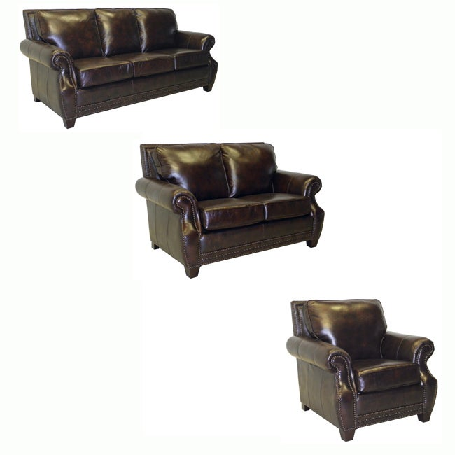 Salem Rustic Brown Italian Leather Sofa, Loveseat and Chair Set