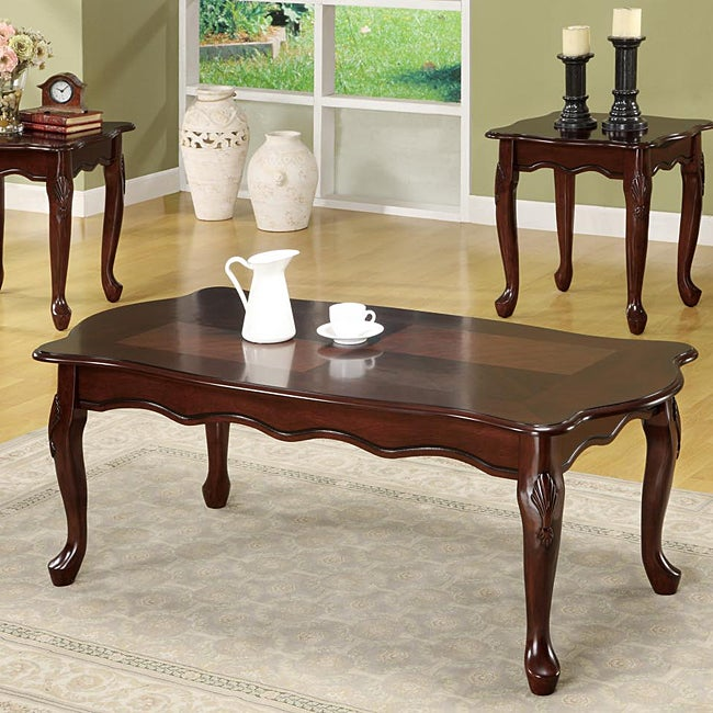 Dark Cherry Queen Anne 3 Piece Occaisonal Table Set