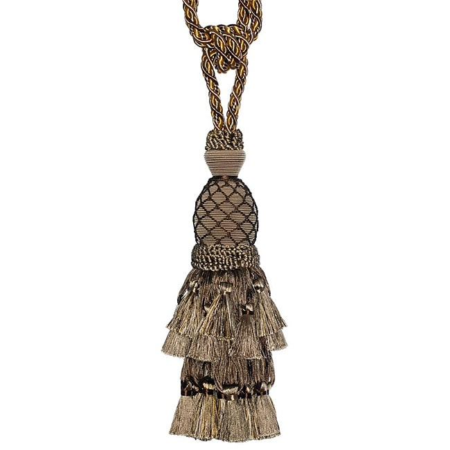 Exclusive Fabrics Taupe/ Gold Designer Tassel Tiebacks (Set of 2)