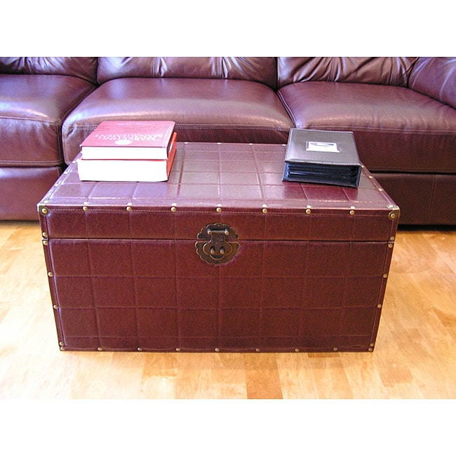 Classic Large Brown Faux Leather Wooden Steamer Trunk