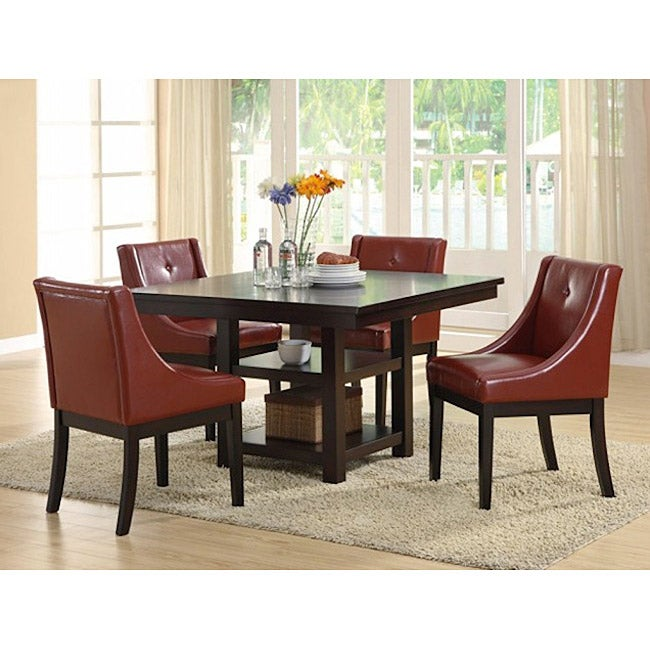 Burgundy Leather-like Dining Chairs (Set of 2)