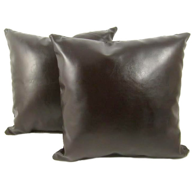 Faux Leather 18-inch Throw Pillows (Set of 2)