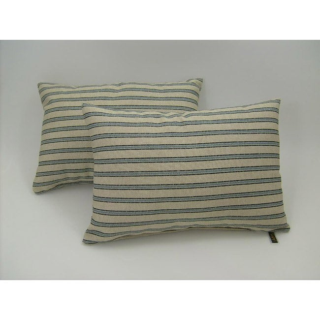 Gardening Stripe Indigo Throw Pillows (Set of 2)