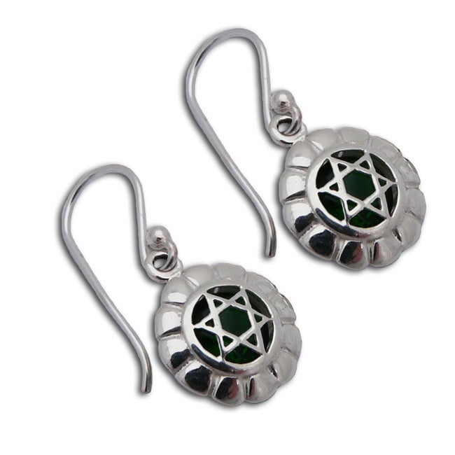Sterling Silver Green Cubic Zirconia Heart Chakra Earrings (Thailand)