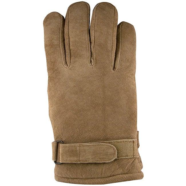 Isotoner Men's Medium Taupe Suede Gloves