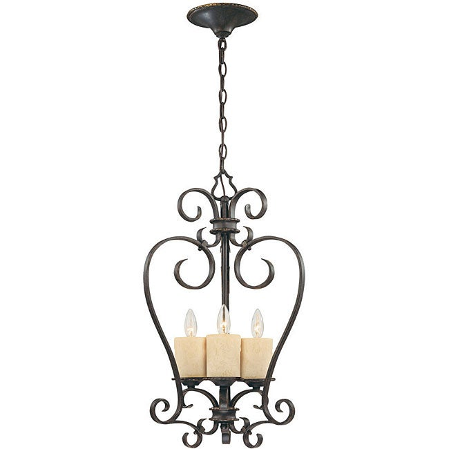World Imports Stafford Spring Collection 3-Light Hanging Glassless Lantern