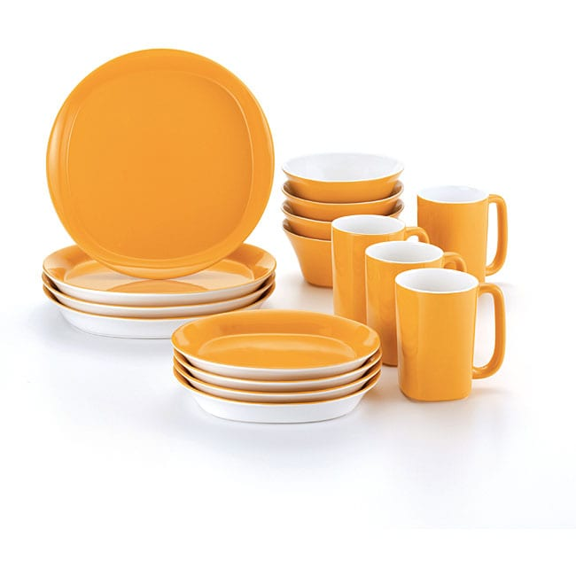 Rachael Ray 16-piece Round and Square Yellow Dinnerware Set - Thumbnail 0