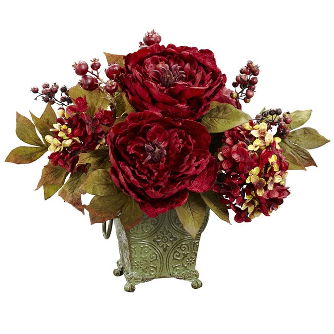 Peony and Hydrangea Polyester Arrangement - Thumbnail 0