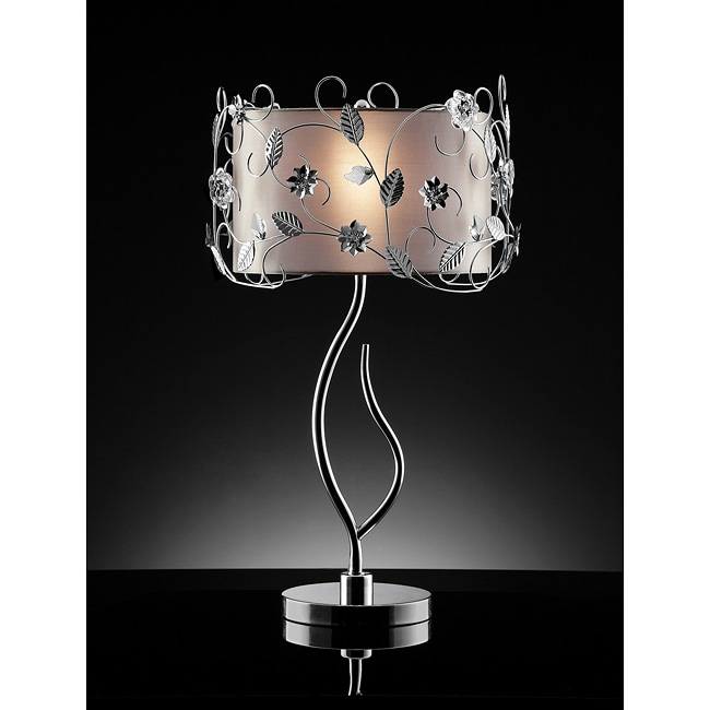 Floral 34-inch Silver Crystal Table Lamp