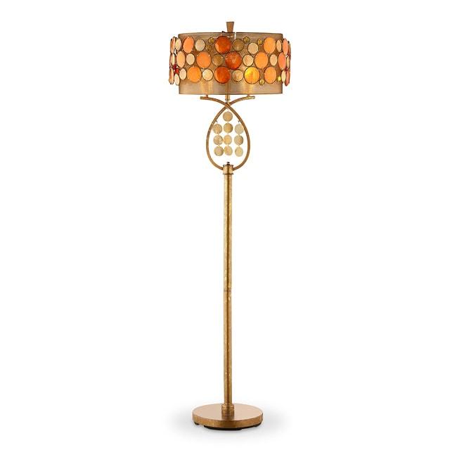 Shop Isabela Orange Capiz Shell Floor Lamp Free Shipping