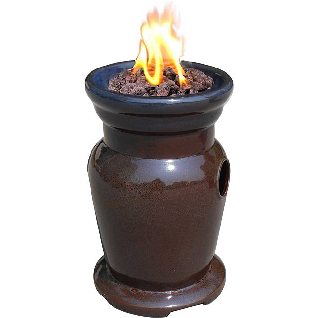 Cagney Ceramic Rust Propane Tabletop Fire Bowl Free