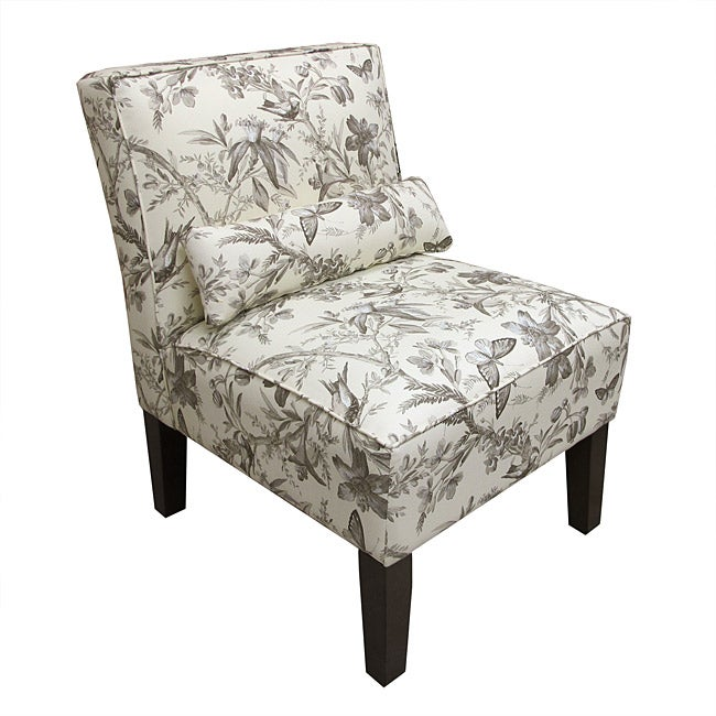 Made To Order  Armless Aviary Toile Accent Chair