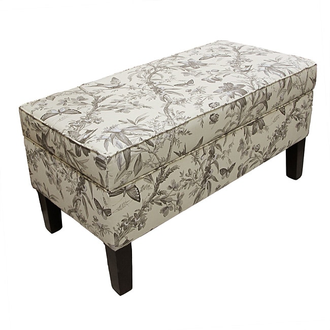 Made To Order  Aviary Toile Modern Storage Bench
