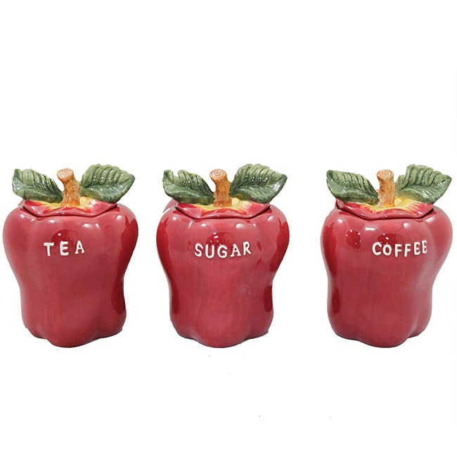 Red apple collection 3 piece coffee tea and sugar for Apple kitchen decoration set