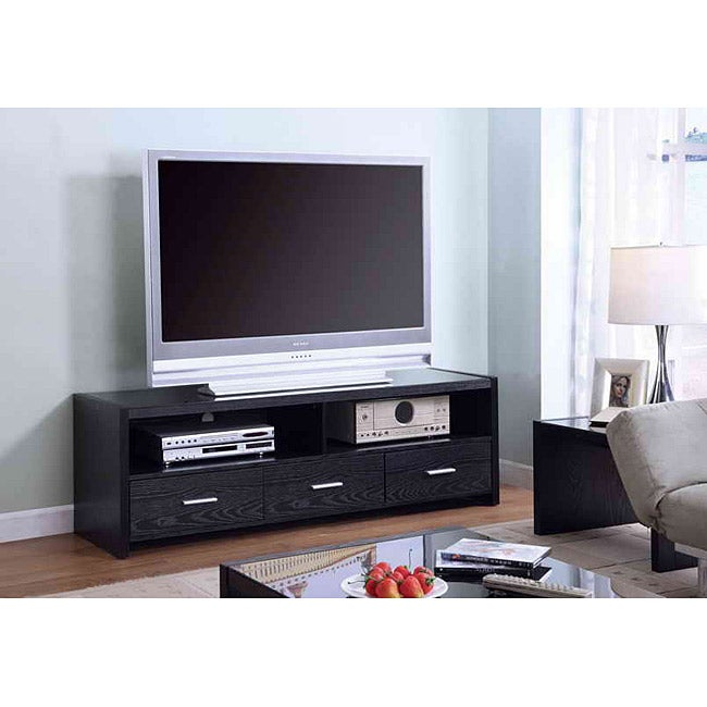 Black Oak Tempered Glass 62-in 3-drawer TV Console