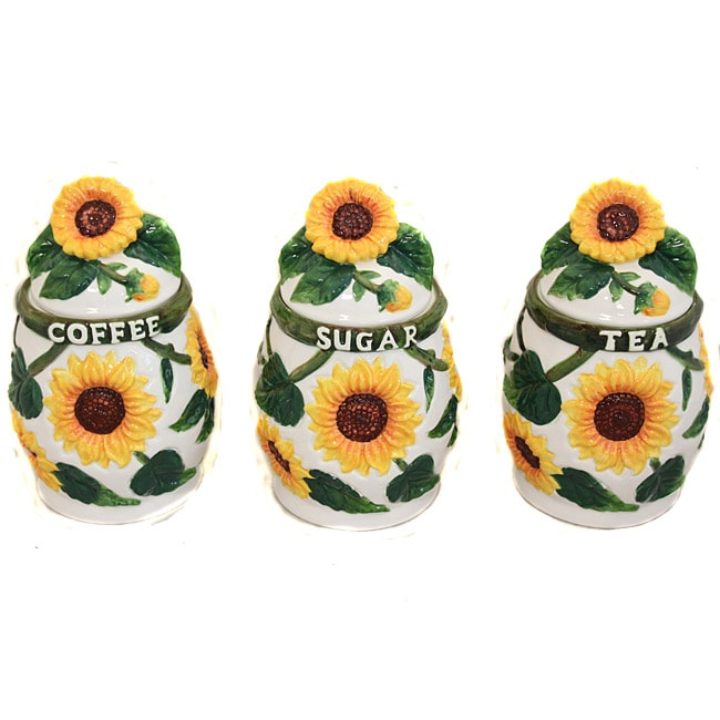 country sunflower collection 3 piece kitchen canister set