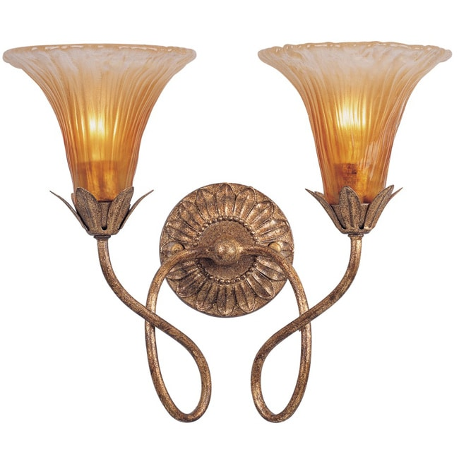 Traditional 2-light Gold Leaf Wall Sconce