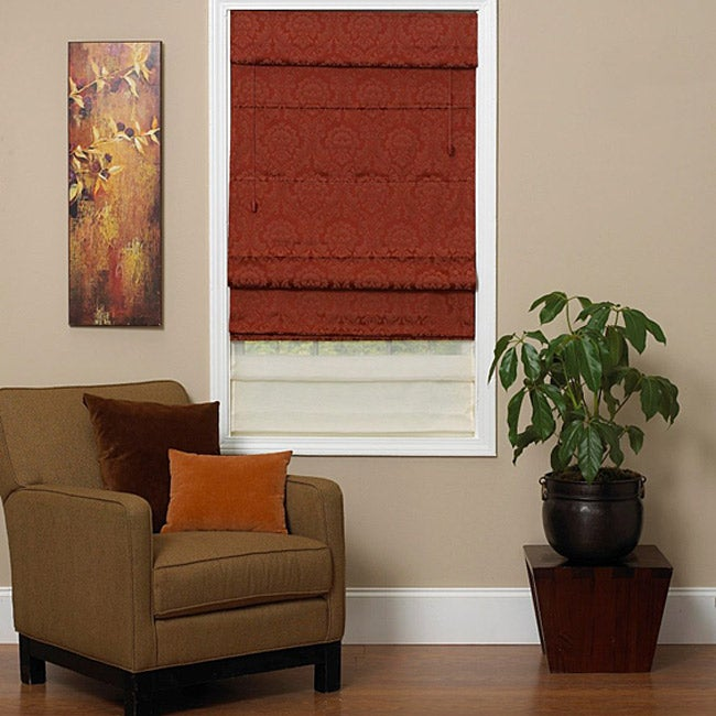 Antique Red Fabric Roman Shade (31 in. x 72 in.)