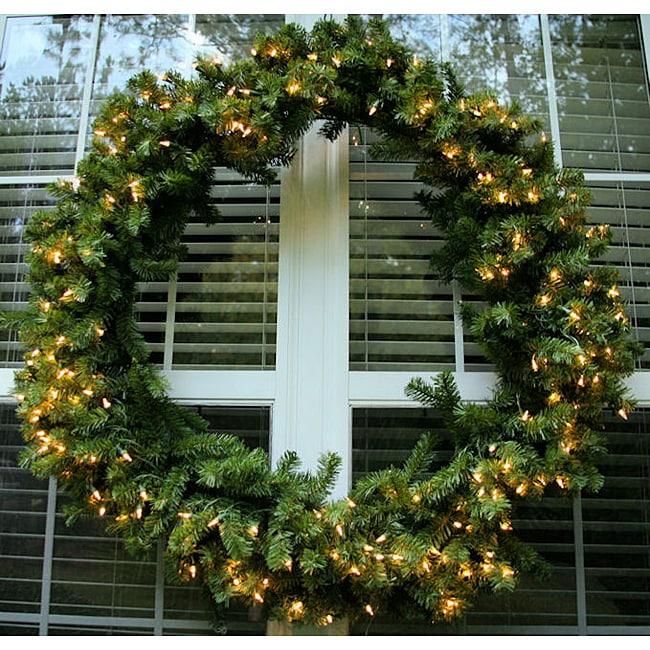 Deluxe Valley Pine 48-inch Pre-Lit Artificial Wreath