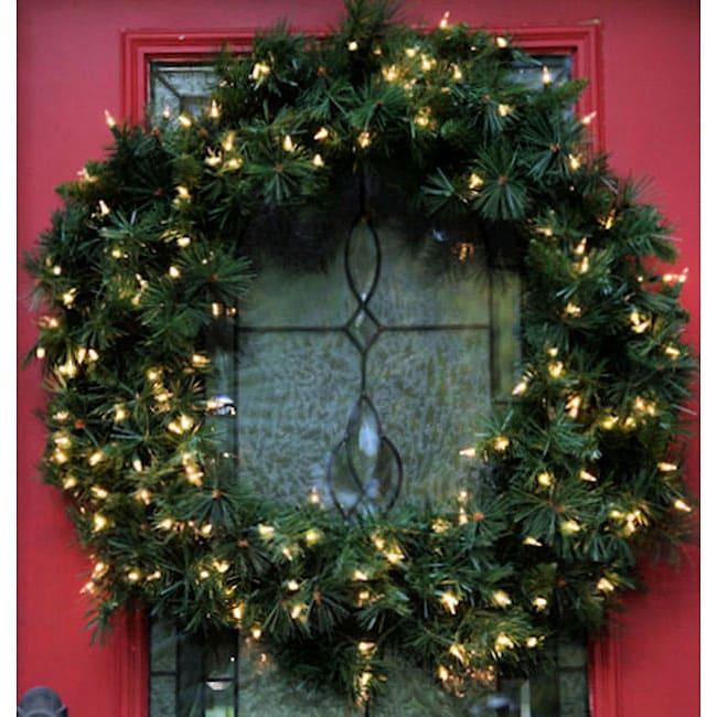 Olympia Spruce 36-inch Pre-Lit Artificial Wreath
