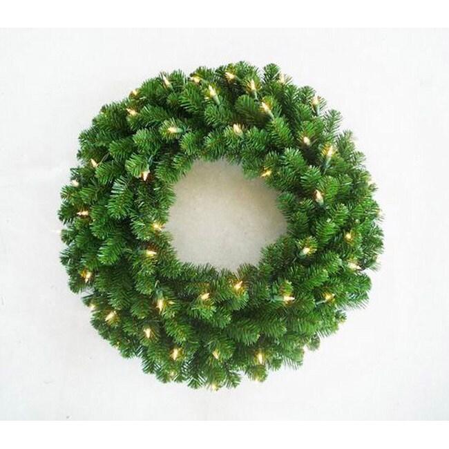 Deluxe Valley Pine 36-inch Pre-Lit Artificial Wreath