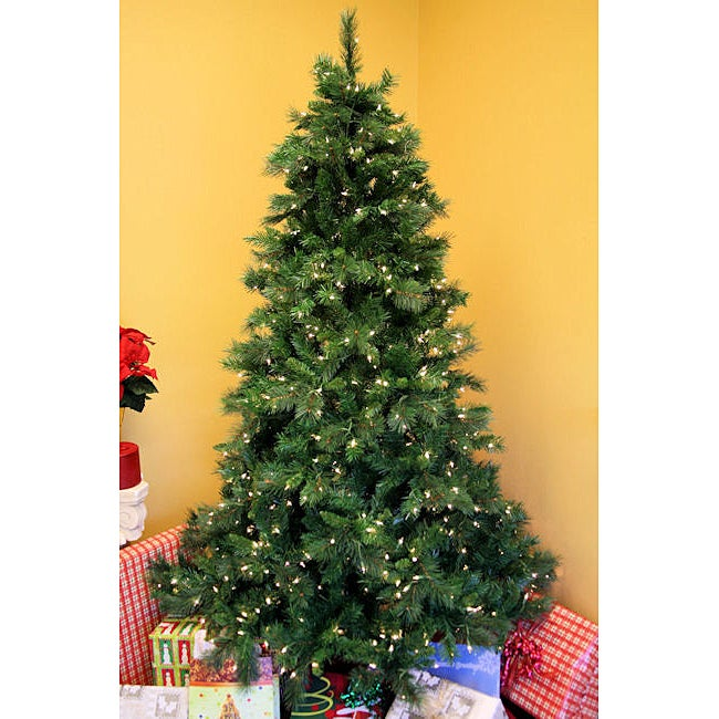 Olympia Spruce 7.5-foot Hinged Pre-Lit Artificial Christmas Tree