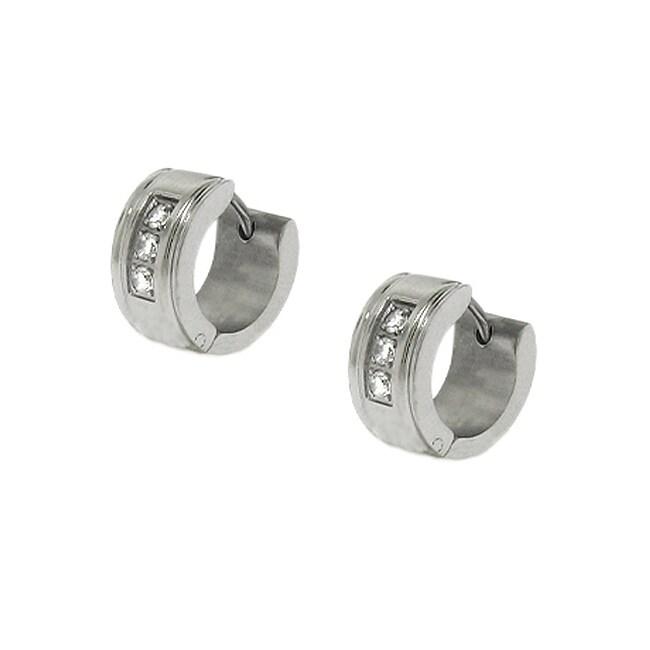 Stainless Steel Cubic Zirconia Hoop Earrings