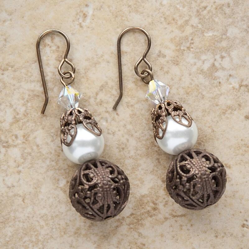 Brass Filigree Faux Glass Pearl Earrings