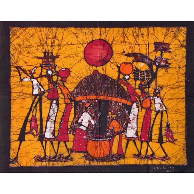 'Back at the Village' Batik Tapestry (Mozambique)