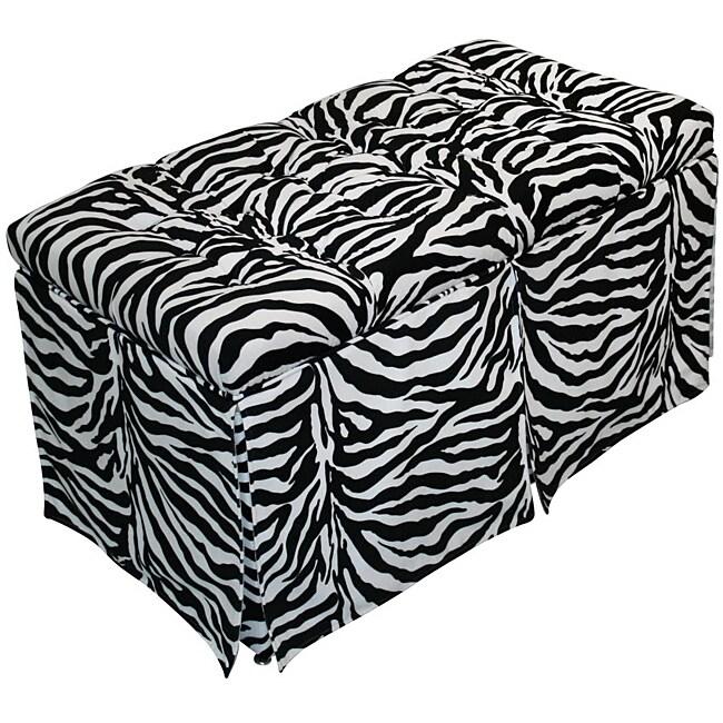 Magical Harmony Kids Minky Zebra Tufted Toy Box