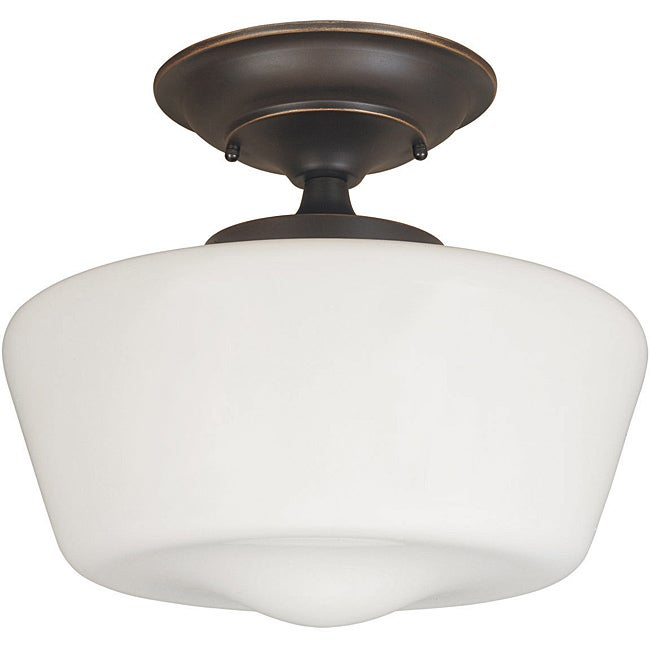Luray Collection 1-light Oil-rubbed Bronze Finish Semi-flush Fixture - Thumbnail 0