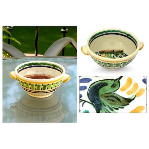 Handmade Majolica Ceramic 'Colonial Songbird' Bowl (Mexico)